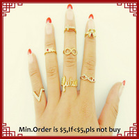 (7 pcs ring set) Lovely Gold Bow and 8 Infinite Finger Rings Set 2014 Fashion Cheap Rings Set for Women Gold Geometric Rings