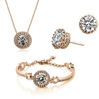 18K Gold Plated Jewerly Set Austrian Crystal Necklace Bracelet Earrings Jewelry Set for Women  Fashion Jewelry Set