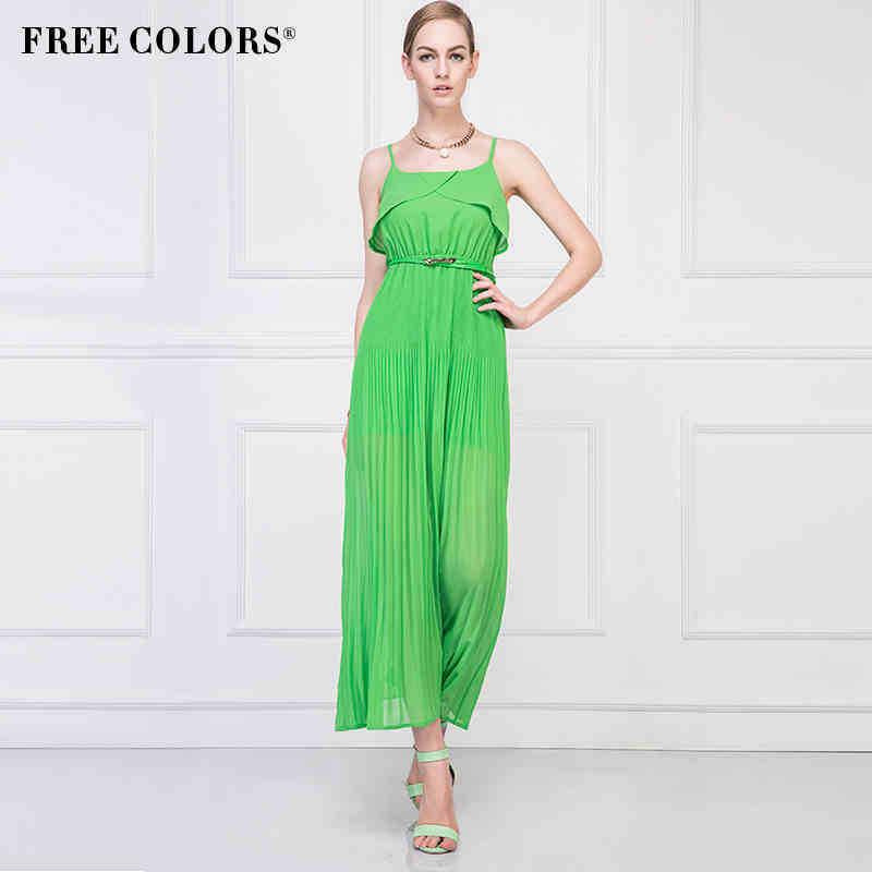 New 2014 summer fashion women chiffon  long beach  dress  high waist spaghetti strap full dress  for the beach