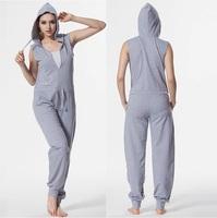 2014 Summer Sexy jumpsuit Sleeveless Women Bodysuit One Piece Cotton Adult Hoodie Playsuits