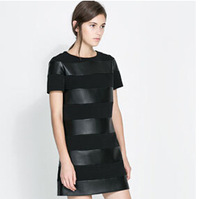 2014 Spring Fashion Women Dress Short Sleeve O-Neck Solid Color Knitted Patchwork PU Leather Dress Pullover Women Dress   #C0826