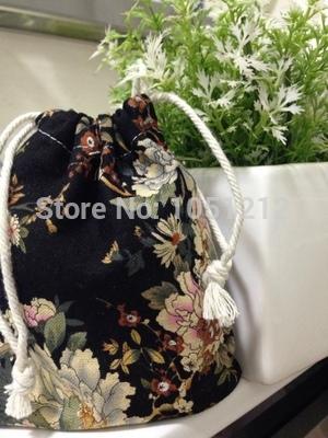 30pcs/lot cotton linen drawstring storage pouches wedding gift bag black ground with printed peony flower image(China (Mainland))