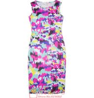 2014 new fashion summer dress women knee length sexy dress tight hip pack sheath dress sleeveless digital print dress