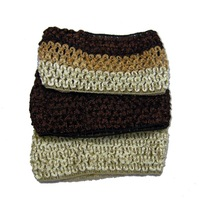 3 Pcs of 3-Tones Brown Color Weave Fabric Fashion Head Wrap Set Headband