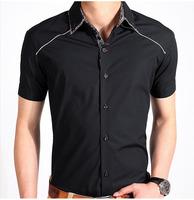 solid color mens social shirt short sleeve cotton shirts slim fit free shipping M L XL XXL XXXL 913