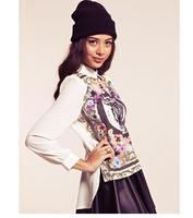 2014 New Fashion Ladies' vintage tiger head floral print blouses long sleeve Shirt casual slim brand designer tops     #C0897