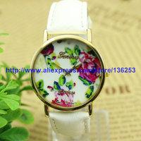 New Summer Arrival Women's Fashion Watches GENEVA Vintage Rose Flower Watch Ladies Leather Quartz Watches 12Colors 30pcs/lot