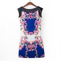 Women vintage polyester floral prints slash neck sleeveless A-line dress 223211