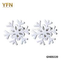 GNE0220 Hot selling Women's Earrings 100% 925 Sterling Silver Jewelry Fashion Snowflake Stud Earrings 9x9mm Free shipping
