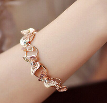 The new 2014 korean fashion designer brand crystal butterfly gold plate bracelet/women  jewelry accessories/pulseiras/bijoux