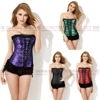 New Sexy Gothic Corsets Overbust Top Bustier Red/Purple/Green/Black/White Lace Wedding Clothing Corpete Free Shipping