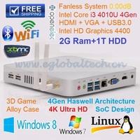 Top Sell Free Shipping Fanless  PC Intel Core i3 3217U Hotel Computer Networking Remote PC 2GB RAM 1TB HDD Mini ITX Case HDMI PC
