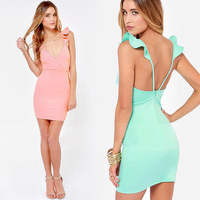 FanShou Free Shipping New 2014 Women Spring Summer Dress Sexy Backless Spaghetti Strap Slim Mini Dresses Plus Size XXL 6175