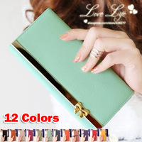 New Real Freeshipping Hasp Solid Fashion 2014 Bow Long Design Color Women Wallets Clutch Handbags Purses - Free Shipping W026