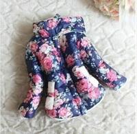 Retail 1Pcs Children Kids Girls Outerwear Warm Down Flower Print Coats And Jackets For Children Winter Spring New2014 CCC347