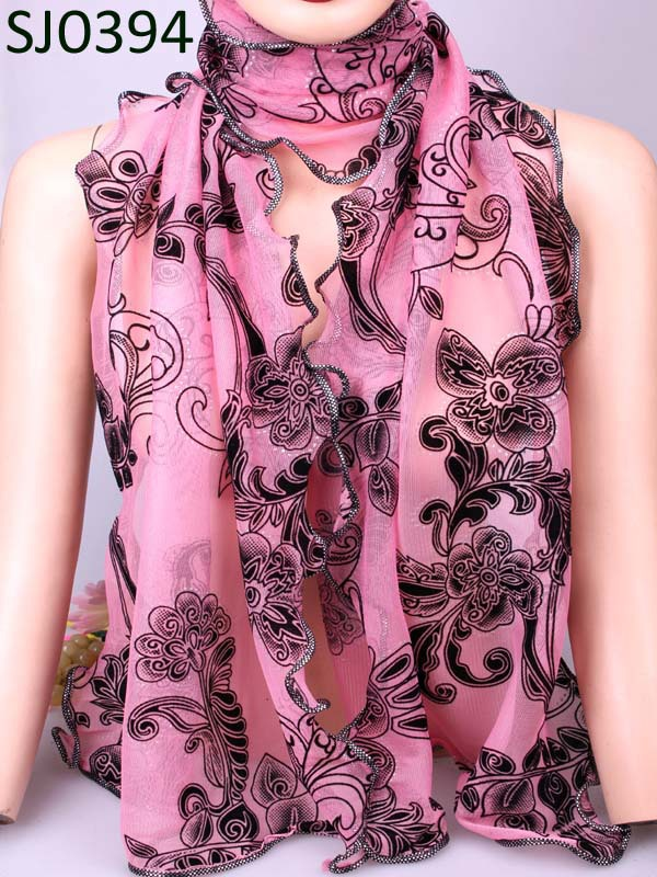 Swell Chiffon Lace big flower multicolor Long Soft Scarf Size 190*43mm Wrap Shawl Stole For Lovely Women/Girls free shipping(China (Mainland))
