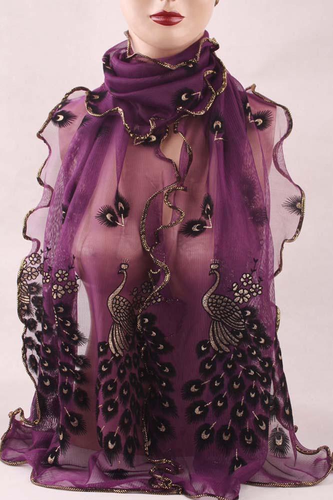 2014 Wonderful Chiffon Peacock Long Soft Scarf more color Size 190*43mm Wrap Shawl Stole For Stylish Women/Girls Free shipping(China (Mainland))