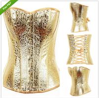 New women waist training corsets cincher Gold/Silver Bustier body shaper Corset Top Burlesque Bas Rouge Fancy Boned Corsets