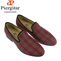New style fashion handmade plaid loafers for mens