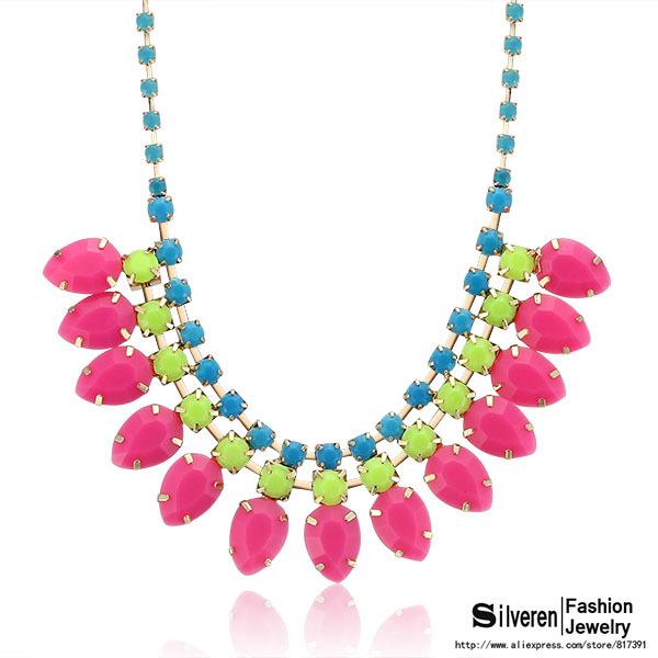 Fashion Punk Choker Colorized Lint Wrap Knit Resins Beads Statement necklaces&pendants Vintage Brand Jewelry (Silveren NE100827)(China (Mainland))