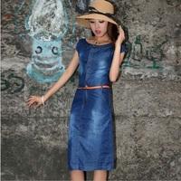 Hot Sale 2014 Summer New Fashion Women Casual Denim Dress Long Girl Cute Dress Vintage Maxi Vestido Desigual Free Shipping