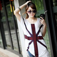 ( Special ) 2014 new large size women's rice sub- Flag T-Shirt