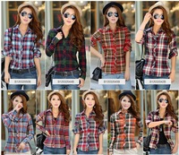 2014 New Spring  Autumn Women Fashion Cotton Plaid Blouse Casual Long Sleeve Tights Cute Female Blouses Shirts S M L XL XXL XXL