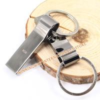 New 2014 Waterproof silver Metal USB Flash Drive pen drive 64GB 32GB 16GB 8GB key chain usb memory usb stick disk Free shipping