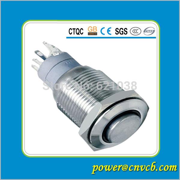 12V Metal Switch Push On Start Button16mm high round latching ring LED waterproof switch 12V illuminated push button switch(China (Mainland))