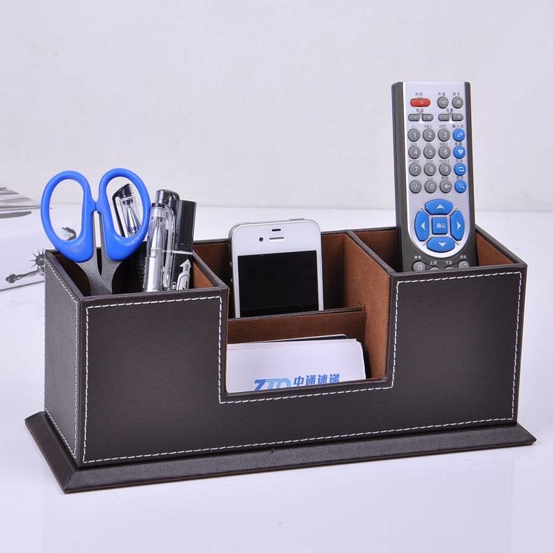 Buy wooden struction leather surface desk - Desk stationery organizer ...