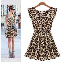 2014 NEW Women Summer Dress Casual Dresses Leopard Print grain Sleeveless Women Fashion Dress Party Girl Sundress M-XL