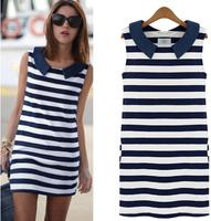 Summer Dress 2014 Clothing  Korean Fashion Women Denim Sleeveless striped casual midi Shirt Dress Vestidos