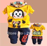 New Summer Girls Boys Clothing Sets,Baby Cartoon Monkey Long Sleeves T-shirt +Pants Sport Suit 1set Free Shipping NYT-014