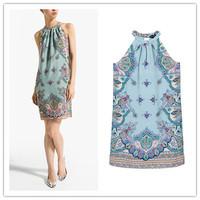 new 2014 summer women desigual girl novelty dress vintage Sexy Print Halter sex dress Free shipping    #C0509
