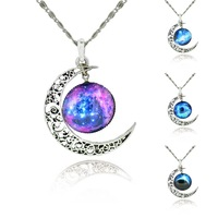 Free Shipping 2014 New Fashion Galaxy Necklace Lovely Galaxy Cabochon Alloy Hollow Moon Pendant Silver Chain Necklace Best Gift