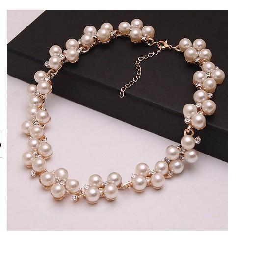 Fashion Western pearl choker Pearl collar rhinestone crystal bride necklace Fashion Jewelry For Woman