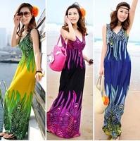 2014 Sell one like this Deep V Collar Peacock Bohemia Summer Long Beach Dress Maxi Dress Hotsale New wholesale price