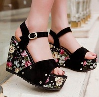 2014 New Summer Women shoes sandals Wedges Platforms Buckle Flock Rivets Flower Black Blue Red Fashion Sweets Retro ZL011