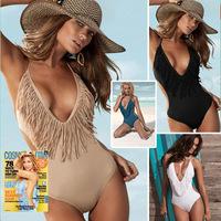2014 Hot sale woman sexy tassel swimwear set wholesale 3 colors (black,khaki,white) women cheap sexy bikini set dyyy-0274