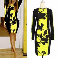 2014 New Fashion Yellow Women Tank Dress Floral Print Mini Celebrity Style Bodycon Party Dress