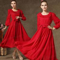 Wholesale fashion ruffles women casual winter dress 2015 autumn chiffon long vintage dress work wear maxi Evening dresses grey