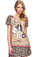 2014 New European Spring/Summer dress women O collar short sleeve sexy lady cartoon print dress