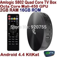 S82B XBMC Android TV Box Quad Core Amlogic S802 2GB RAM 16GB Rom Mali450 GPU 4K HDMI Bluetooth WiFi Android 4.4 KitKat Mini PC
