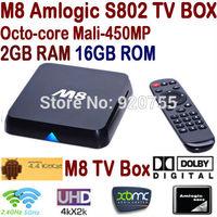 Newest M8 Amlogic S802 Quad Core Android TV Box 2GB/16GB Mali450 GPU 2.4G/5G Dual Wifi HDMI Bluetooth 4K Android 4.4 KitKat XBMC