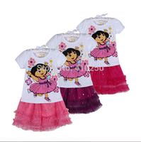 New Kids Children Clothing Set Girl Dress Dora Princess Top Skirt Summer Tutu Dora Dress Child Outfit Clothing for girls 2 5Y