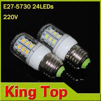 Foxanon Brand E27 5730 SMD Chip 220V led light & led bulbs lampada led Corn lamps 24LEDs lights 7W high Lighting 1Pcs/Lot