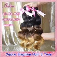 ombre brazilian virgin human hair weave body wave 1B #4 #27 ombre hair extensions,3pcs ombre brazillian hair weft Free Shipping