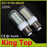 1PC/lot E27 5730 Lamp 220V led Corn Bulbs 36LEDs Light 5730SMD max 11W led corn lights Chandelier---Free shipping/Dropshipping