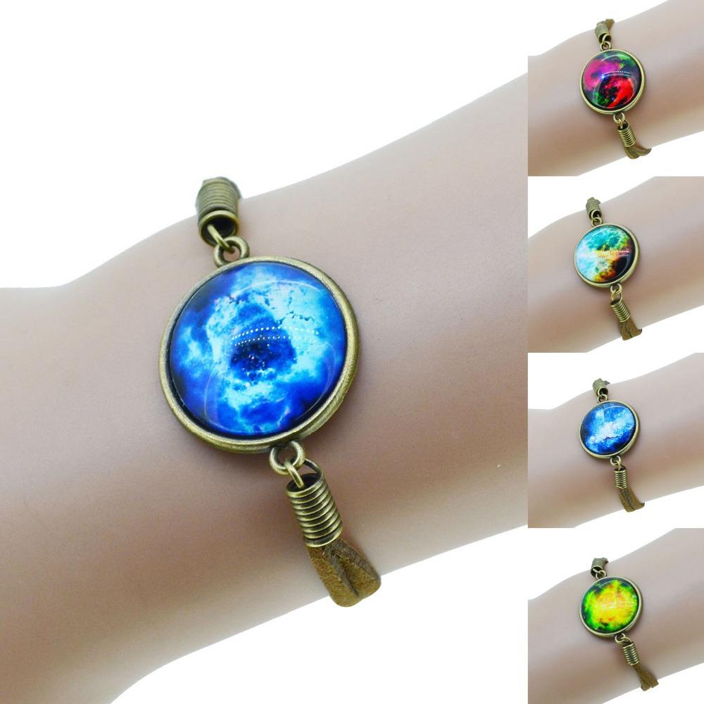 2014 Suede Leather Galaxy Glass Cabochon Bracelet Nebula Space Pendant Charms Cuff Bangle(China (Mainland))