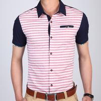 2014 new arrive fashion striped casual men shirt slim fit men's shirts social for male free shipping M L XL XXL XXXL 926